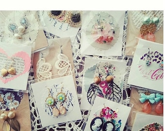 Sale 25 pairs of earrings. Wholesale boutique lot stocking stuffers.