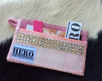 Wallet made from decommissioned fire hose and embellished with Swarovski crystals!