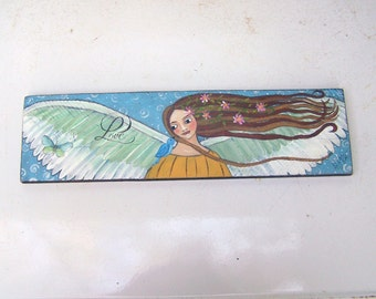Angel Painting Original Folk Art Inspirational Angel Free Shipping