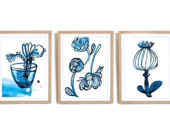 Set of 3 Inky Blue Archival Wall Art Prints Botanical