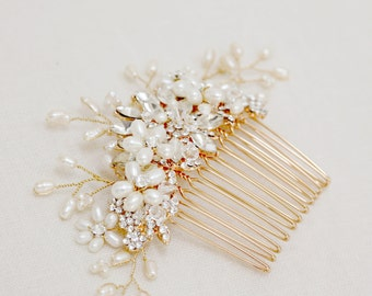 Gold or Silver Freshwater pearl and rhinestone Large Bridal Hair Comb
