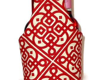 Double Wine Tote, Insulated, Red and Off White Geometric Design Fabric