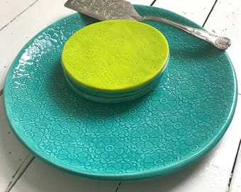 Turquoise Charger -  UnderPlate - handmade ceramics - pattern - X Large Plate - Platter -  Wobbly Plates Series