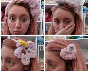 Kawaii fairy kei decora fuzzy pink pastel hair clip accessory headband