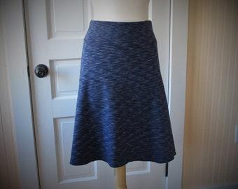 Jersey Knit Skirt - A line style - Navy Blue Space Dye Pattern - Size Large