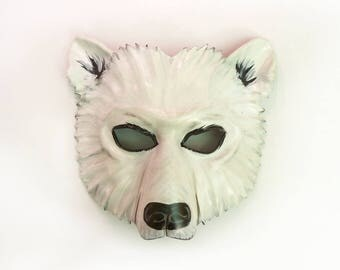 Leather Polar Bear Mask entirely handcrafted, lightweight and one of a kind Teonova adult size Snow Bear costume art