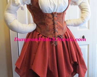 DDNJ 4pc Choose Fabrics Reversible Corset Style Bodice Chemise Petal Skirt FL Skirt  Plus Custom Made ANY Size Anime Costume Medieval Pirate