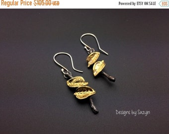 ON SALE New Design Oxidized  Silver and 22k Gold Leaf and twig  Dangle Earrings