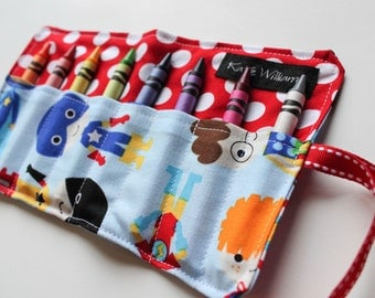 Super Hero Mini Crayon Roll-Super Hero Crayon Holder-Boy Christmas Gift-Boy Stocking Stuffer-Kid Travel Art Accessory-Super Hero Party Favor