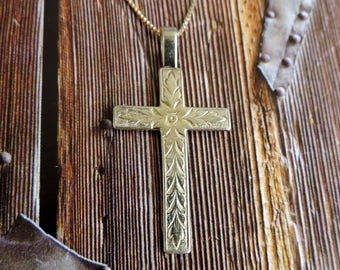 "Vintage Large Ornated Cross Gold over Sterling Silver with 18"" chain"