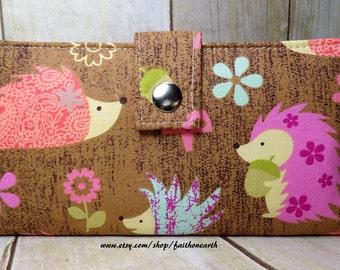 hedgehog - Handmade Long Wallet  BiFold Clutch