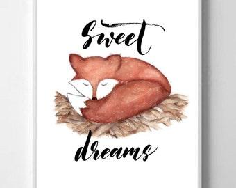 Nursery Print,Fox, Sweet Dreams, Baby Digital fox print, Sleeping fox watercolor fox print Children's room fox print,fox gift, nursery gift