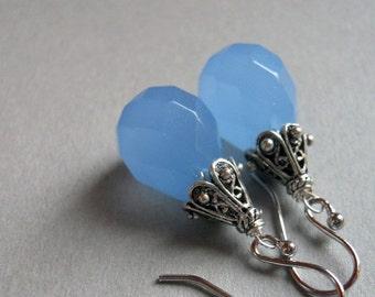 FLASH SALE 20% OFF, Simple Drop Earrings, Drop Earrings, Dusk Blue Chalcedony Drop earrings, drop earrings, blue earrings, chalcedony earrin