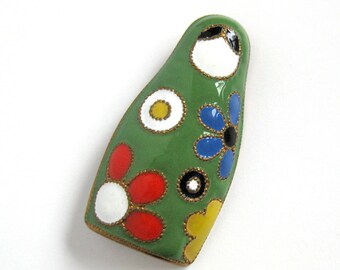 Vintage Matryoshka Doll Brooch or Russian Nesting Doll Brooch / Green Cloisonné Enamel with Multi-Color Flowers
