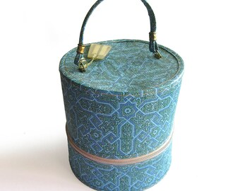 1960s Vintage Wig Case or Carrying Case in Blue and Green with metallic Gold Flecks / Travel Train Case / Suitcase
