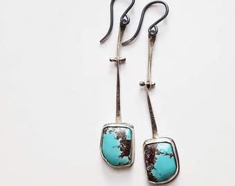 Turquoise Earrings Hinge Earrings Joint Earrings Asymmetrical Earrings Unique Stone Earring Long Dangle Earrings