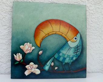 Toucan original acrylic painting, cradled wood panel, home decor, bird, ready to hang