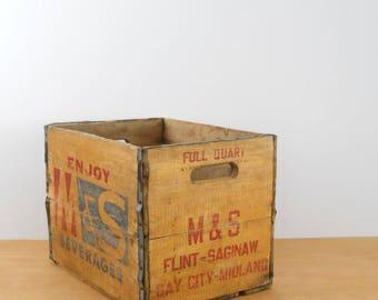 Vintage Wooden Crate Advertising • Vintage Wood Beverage Crate • M & S Beverage Crate Flint Saginaw Bay City Midland