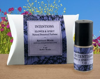 Intentions, Organic Botanical Perfume Oil, 100% Natural with Essential Oils, Absolutes and Flower Essences including Jasmine, Clary Sage