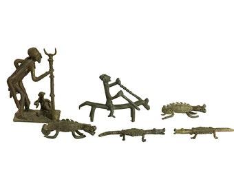 African Sculpture Lot | Antique Metal | Crocodiles | Warriors | Handmade Art | Bohemian Home Decor