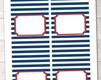 Nautical Blue and Red Printable Buffet Card Labels - INSTANT DOWNLOAD