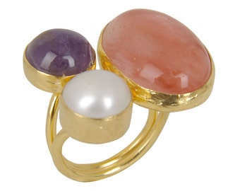 Amethyst, Cherry Quartz and Pearl Ring, three stone ring, statement ring, pearl ring, amethyst ring, quartz ring, cocktail ring, big ring