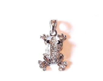 Small Frog Pendant Rhinestone Encrusted Silver-tone