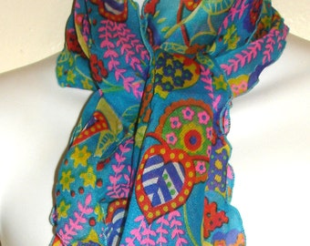 vintage funky flower power colorful floral semi-sheer neck scarf