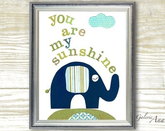 Kids wall art- nursery art - baby nursery decor - nursery wal l- words - letters - personalized - elephant nursery - You Are My Sunshine