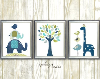 Baby Boy nursery decor kids room decor Bird elephant tree giraffe blue green navy baby room decor  Set of 3 prints