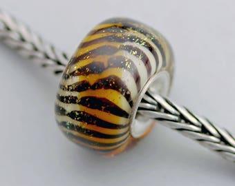 Sparkly Dichroic Chubby Siberian Tiger Bead - Artisan Glass Charm Bracelet Beads - (MH-65)