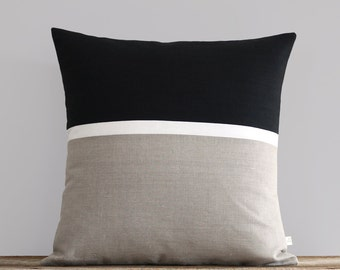 20x20 Horizon Line Pillow Cover with Black, Cream & Natural Linen Stripes by JillianReneDecor, Classic, Minimal, Modern Home Decor