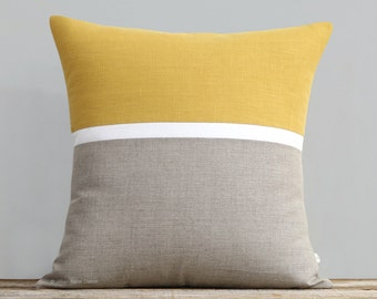 Spring Horizon Line Pillow Cover in Squash Yellow, Cream & Natural Linen Stripes by JillianReneDecor, Modern Home Decor, Colorblock Stripes