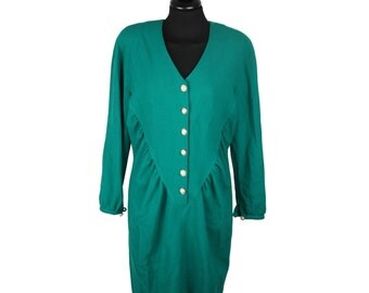 GIANNI TOLENTINO Vintage Green Wool BUTTON front dress size 44