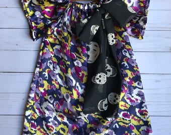 Fun Toddler Peasant Dress Blouse in Modern Fabrics with skull chiffon bow 2T