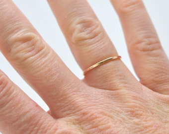 Slim Gold Band in 14K Rose Gold, 1mm Width, Handmade by Sea Babe Jewelry