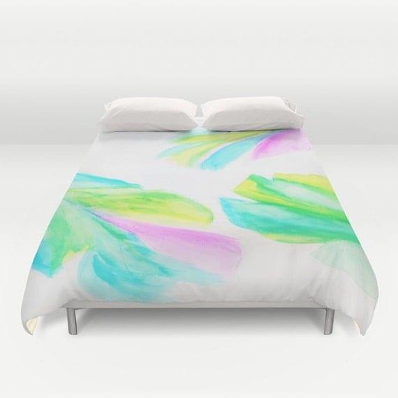 Watercolor Leaves Duvet Cover, Banana Leaf Decorative bedding, Pink Green Bedding, Tropical, Fresh, Botanical,Bedding, Dorm Bedding, Modern