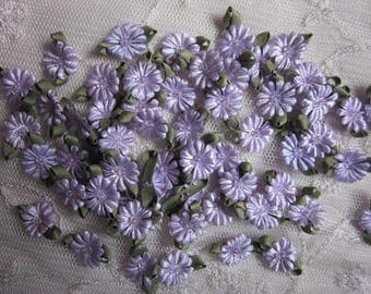 Fabric Flowers 72pc LAVENDER Beaded Daisy Shabby Chic Baby Doll Costume Pageant Hair Bow Bridal Wedding Favor