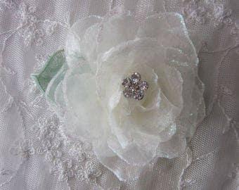 3.5 Inch Rhinestone Beaded Wired IVORY Organza Glitter Rose Flower w Leaf Bridal Bouquet Hair Accessory