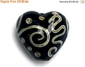 ON SALE 35% OFF Black w/Silver Ivory String Heart Focal Bead - Handmade Lampwork Glass Bead 11810305
