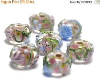 ON SALE 45% OFF Handmade Glass Lampwork Bead Set - Seven Light Pink w/Blue Floral Rondelle Beads 11005401