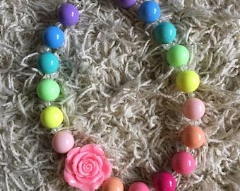 rainbow, girl's necklace, bubblegum necklace, rainbow birthday, rainbow party, unicorn party, chunky necklace, unicorn birthday