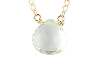 Single-Stone Green Amethyst Necklace