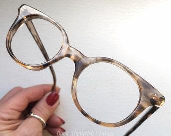 Minimalist Regency NOS 50's 60's Round Hornrim Eyeglasses Eyewear Frames Ash Blonde Tortoise Marble Small Adult Size