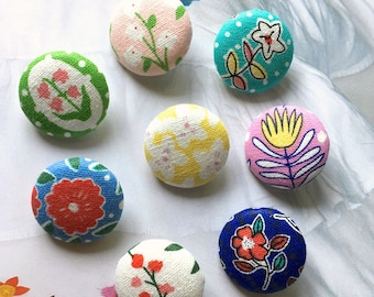 Handmade Country Sweet Yellow Red Blue Green Pink Floral Flower Fabric Covered Button Fridge Magnets, 1.1 Inches 8's