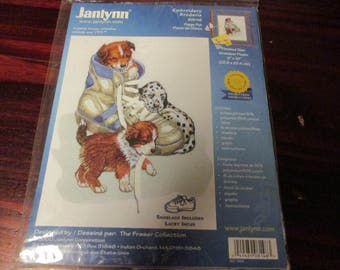 Crewel Embroidery Kit Puppy Fun Janlynn 08-148 Sealed Kit