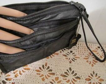 Wristlet Clutch, Genuine Leather Wristlet Clutch Leather Organizer Wallet Purse Clutch