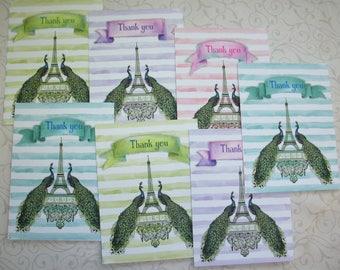 PEACOCKS - Elegant, Romantic Thank you Tags - Set of 7 - Eiffel Tower, Paris, Bridal Tags, hostess gift - PWT 445