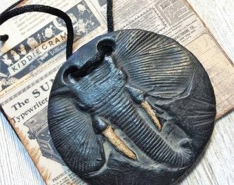 Wondrousstrange Dreaming of Africa Elephant Black Ebony Ivory Look Waxed  Porcelain Statement Pendant Necklace