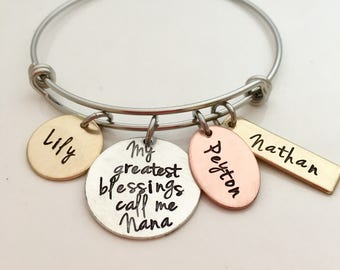 My Greatest Blessings Adjustable Bracelet - Hand Stamped Jewelry - Personalized Bangle Bracelet - Nana Bracelet
